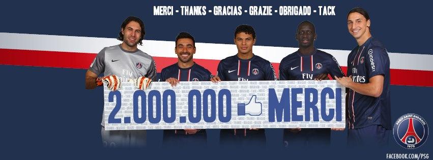 2 000 000 millions de fans facebook pour le PSG