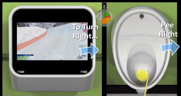jeu vidéo urinoir coca cola park Urinal Gaming System baseball