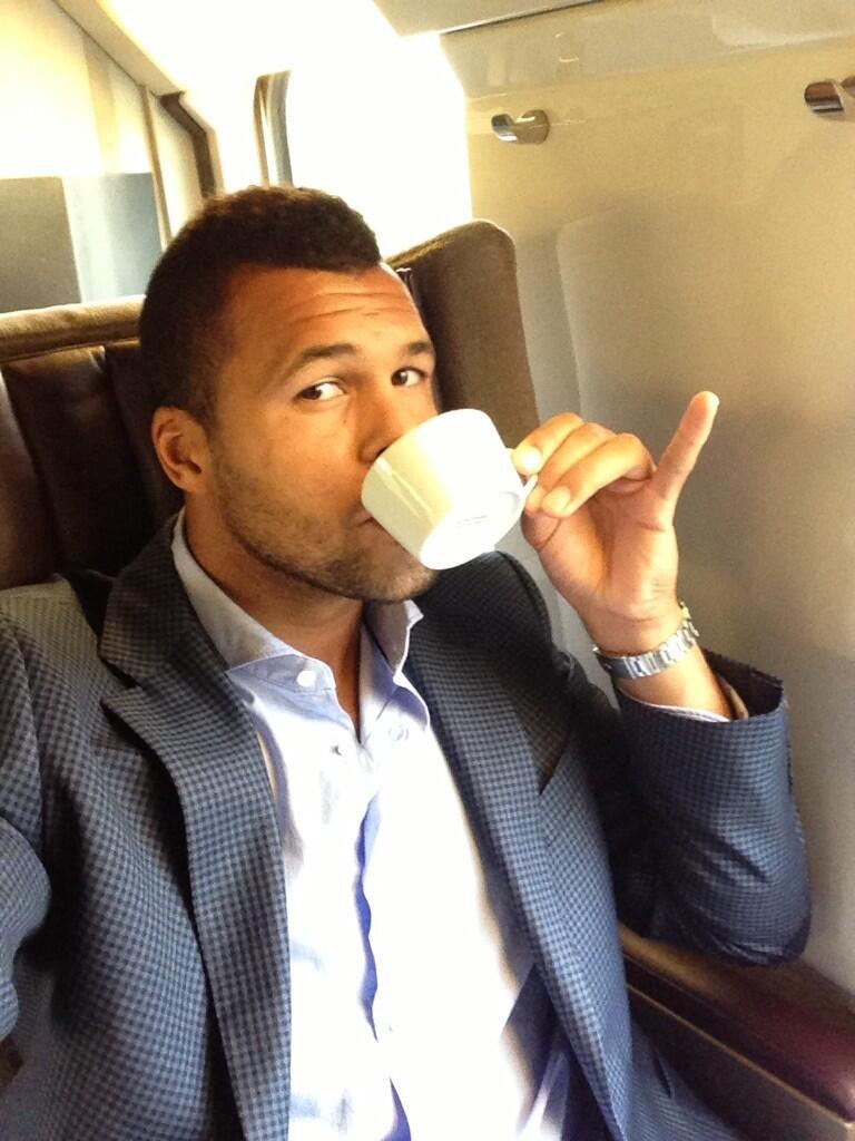 jo wilfried tsonga eurostar cup of tea wimbledon 2013