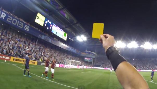 ref cam MLS ALL Star game 2013 AS Roma carton jaune