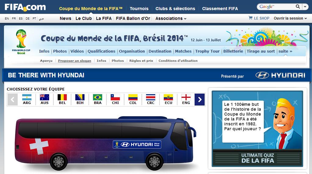 Coupe du monde 2014 affichez votre message de soutien sur les 32 bus des quipes avec hyundai - Gagnant de la coupe du monde ...