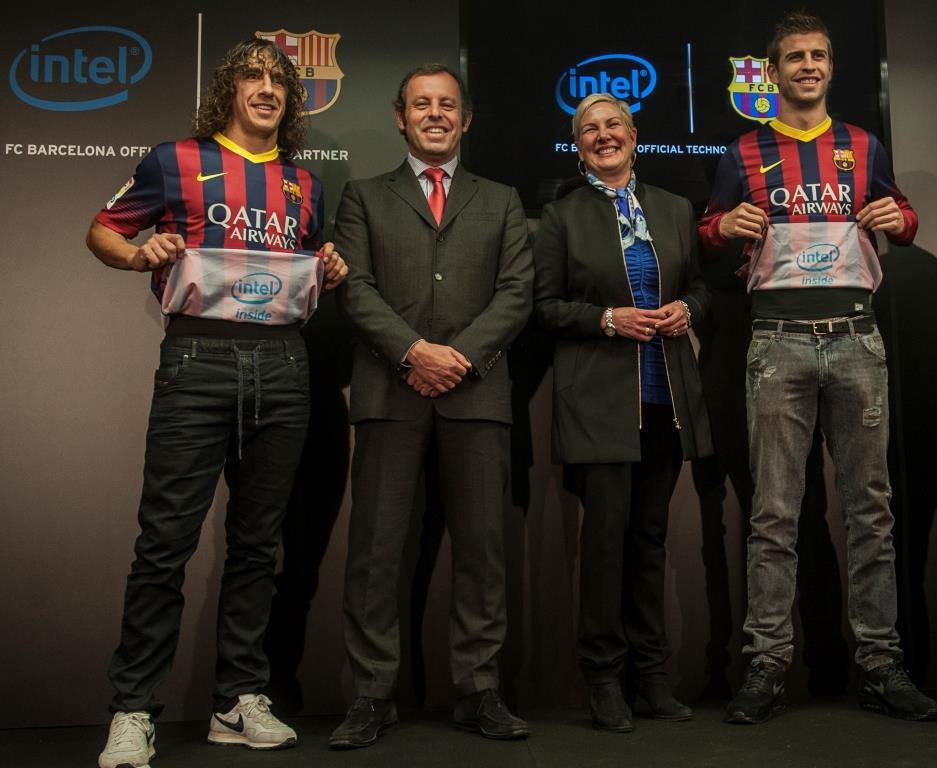 intel inside sponsoring fc barcelone jersey